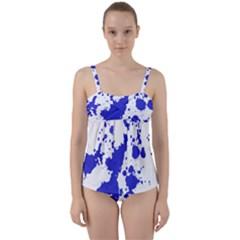 Blue Plaint Splatter Twist Front Tankini Set by Mariart