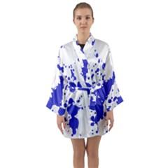 Blue Plaint Splatter Long Sleeve Kimono Robe