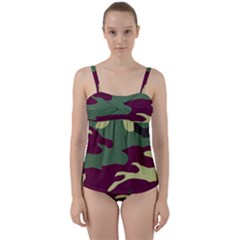 Camuflage Flag Green Purple Grey Twist Front Tankini Set by Mariart