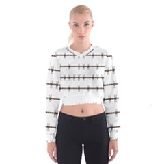 Barbed Wire Brown Cropped Sweatshirt by Mariart