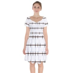 Barbed Wire Brown Short Sleeve Bardot Dress by Mariart
