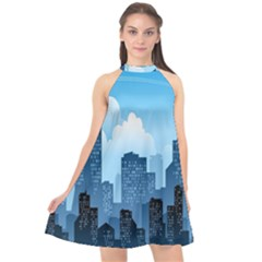 City Building Blue Sky Halter Neckline Chiffon Dress  by Mariart