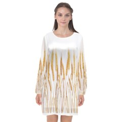Wheat Plants Long Sleeve Chiffon Shift Dress