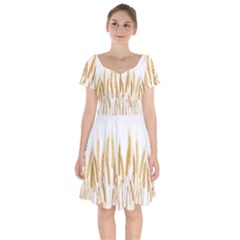 Wheat Plants Short Sleeve Bardot Dress