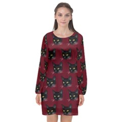 Face Cat Animals Red Long Sleeve Chiffon Shift Dress  by Mariart
