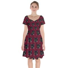 Face Cat Animals Red Short Sleeve Bardot Dress by Mariart