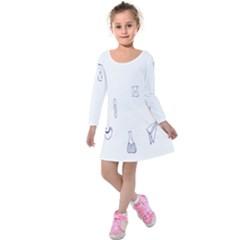 Formulas Laboratories Formulas Mathematics Chemistry Blue Kids  Long Sleeve Velvet Dress