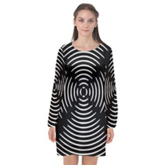 Gold Wave Seamless Pattern Black Hole Long Sleeve Chiffon Shift Dress