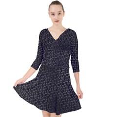 Gray Plaid Black Quarter Sleeve Front Wrap Dress