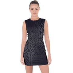 Gray Plaid Black Lace Up Front Bodycon Dress by Mariart