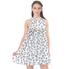 Heart Doddle Halter Neckline Chiffon Dress  by Mariart