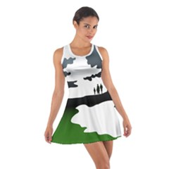 Landscape Silhouette Clipart Kid Abstract Family Natural Green White Cotton Racerback Dress by Mariart