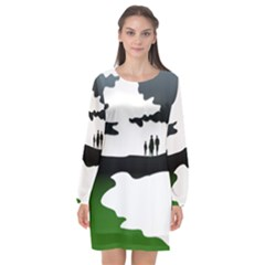 Landscape Silhouette Clipart Kid Abstract Family Natural Green White Long Sleeve Chiffon Shift Dress  by Mariart
