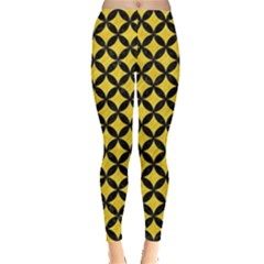 Circles3 Black Marble & Yellow Colored Pencil Leggings  by trendistuff