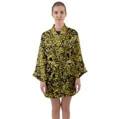 Damask2 Black Marble & Yellow Colored Pencil (r) Long Sleeve Kimono Robe