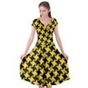 HOUNDSTOOTH2 BLACK MARBLE & YELLOW COLORED PENCIL Cap Sleeve Wrap Front Dress View1