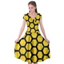 HEXAGON2 BLACK MARBLE & YELLOW COLORED PENCIL Cap Sleeve Wrap Front Dress View1