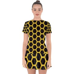 Hexagon2 Black Marble & Yellow Colored Pencil (r) Drop Hem Mini Chiffon Dress by trendistuff