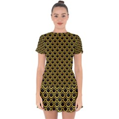 Scales2 Black Marble & Yellow Colored Pencil (r) Drop Hem Mini Chiffon Dress by trendistuff