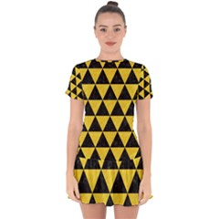 Triangle3 Black Marble & Yellow Colored Pencil Drop Hem Mini Chiffon Dress by trendistuff