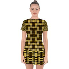 Woven1 Black Marble & Yellow Colored Pencil (r) Drop Hem Mini Chiffon Dress by trendistuff
