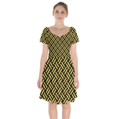 Woven2 Black Marble & Yellow Colored Pencil (r) Short Sleeve Bardot Dress by trendistuff