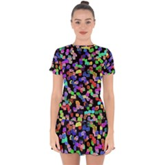 Colorful Paint Strokes On A Black Background                                   Drop Hem Mini Chiffon Dress by LalyLauraFLM
