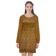 Hexagon1 Black Marble & Yellow Grunge Long Sleeve Chiffon Shift Dress