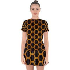 Hexagon2 Black Marble & Yellow Grunge (r) Drop Hem Mini Chiffon Dress by trendistuff