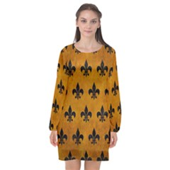 Royal1 Black Marble & Yellow Grunge (r) Long Sleeve Chiffon Shift Dress  by trendistuff