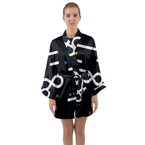 Line Circle Triangle Polka Sign Long Sleeve Kimono Robe