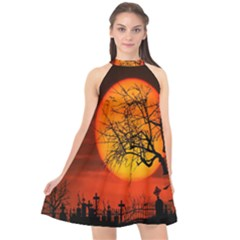 Helloween Midnight Graveyard Silhouette Halter Neckline Chiffon Dress