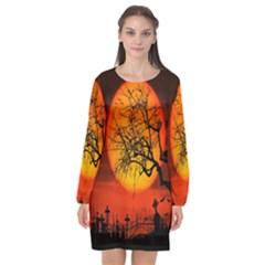 Helloween Midnight Graveyard Silhouette Long Sleeve Chiffon Shift Dress