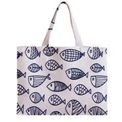 Love Fish Seaworld Swim Blue Sea Water Cartoons Zipper Medium Tote Bag