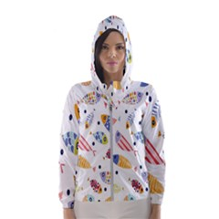 Love Fish Seaworld Swim Blue White Sea Water Cartoons Rainbow Hooded Wind Breaker (women)