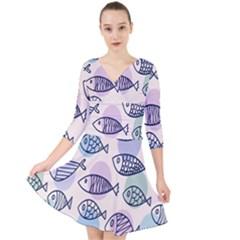 Love Fish Seaworld Swim Blue White Sea Water Cartoons Rainbow Polka Dots Quarter Sleeve Front Wrap Dress by Mariart