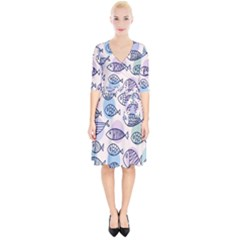Love Fish Seaworld Swim Blue White Sea Water Cartoons Rainbow Polka Dots Wrap Up Cocktail Dress
