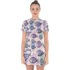 Love Fish Seaworld Swim Blue White Sea Water Cartoons Rainbow Polka Dots Drop Hem Mini Chiffon Dress