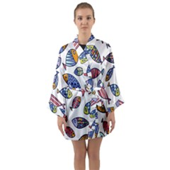 Love Fish Seaworld Swim Rainbow Cartoons Long Sleeve Kimono Robe by Mariart
