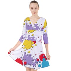 Paint Splash Rainbow Star Quarter Sleeve Front Wrap Dress by Mariart
