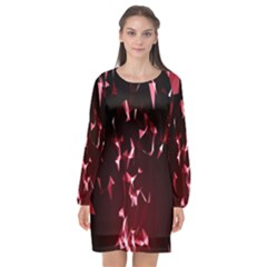 Lying Red Triangle Particles Dark Motion Long Sleeve Chiffon Shift Dress  by Mariart