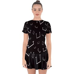 Pit White Black Sign Pattern Drop Hem Mini Chiffon Dress
