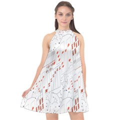 Musical Scales Note Halter Neckline Chiffon Dress  by Mariart