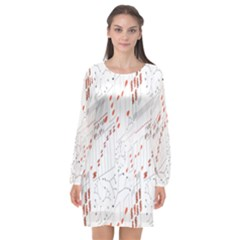 Musical Scales Note Long Sleeve Chiffon Shift Dress  by Mariart