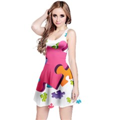 Passel Picture Green Pink Blue Sexy Game Reversible Sleeveless Dress