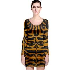 Skin2 Black Marble & Yellow Grunge (r) Long Sleeve Bodycon Dress by trendistuff