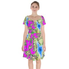 Painting Map Pink Green Blue Street Short Sleeve Bardot Dress by Mariart