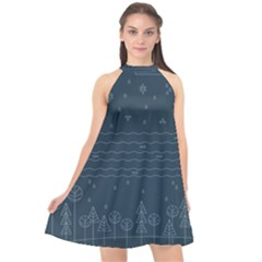 Rain Hill Tree Waves Sky Water Halter Neckline Chiffon Dress