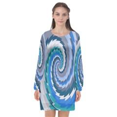 Psycho Hole Chevron Wave Seamless Long Sleeve Chiffon Shift Dress  by Mariart
