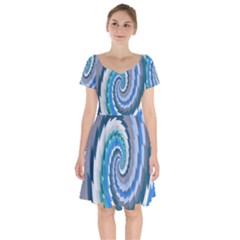 Psycho Hole Chevron Wave Seamless Short Sleeve Bardot Dress